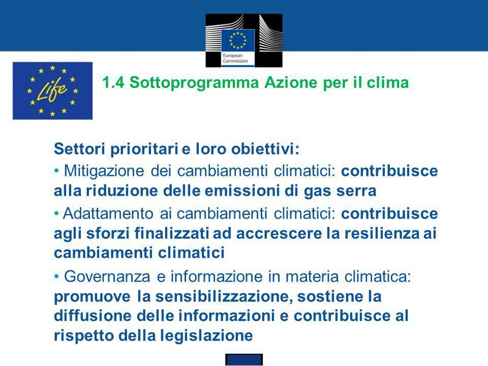 1.4 Sottoprogramma Azione per il clima Settori prioritari e loro obiettivi: Mitigazione dei cambiamenti climatici: contribuisce alla riduzione delle e