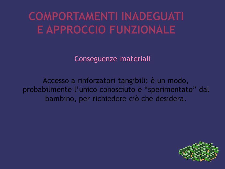 Conseguenze materiali Accesso a rinforzatori tangibili; è un modo, probabilmente l'unico conosciuto e sperimentato dal bambino, per richiedere ciò che desidera.