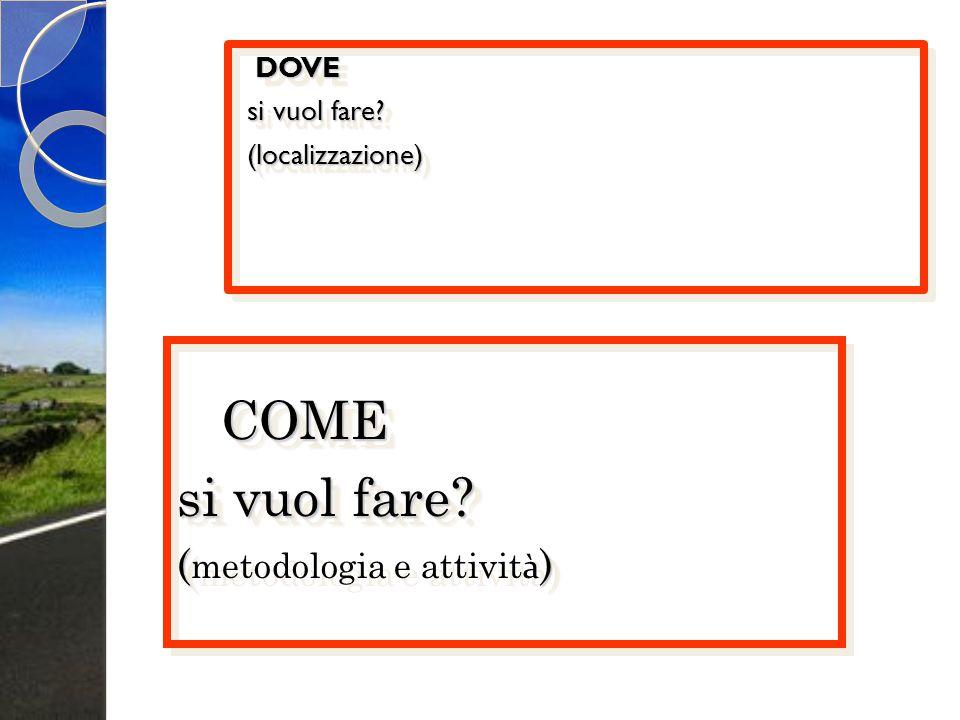 DOVE si vuol fare? (localizzazione) DOVE si vuol fare? (localizzazione) COME COME si vuol fare? () ( metodologia e attivit à ) COME si vuol fare? ( (