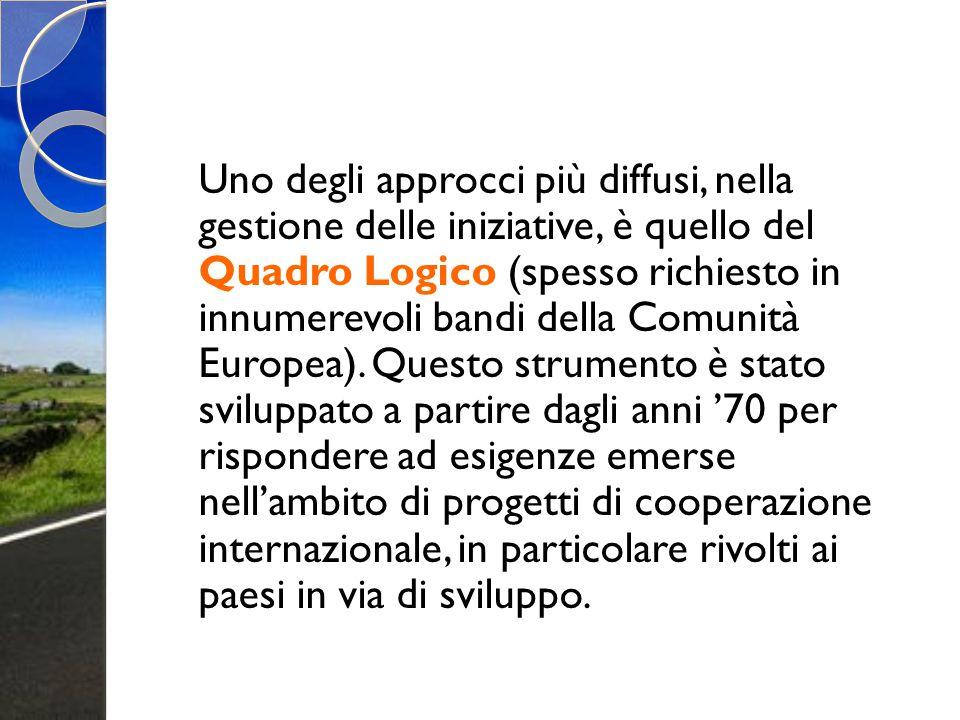 Uno degli approcci più diffusi, nella gestione delle iniziative, è quello del Quadro Logico (spesso richiesto in innumerevoli bandi della Comunità Eur