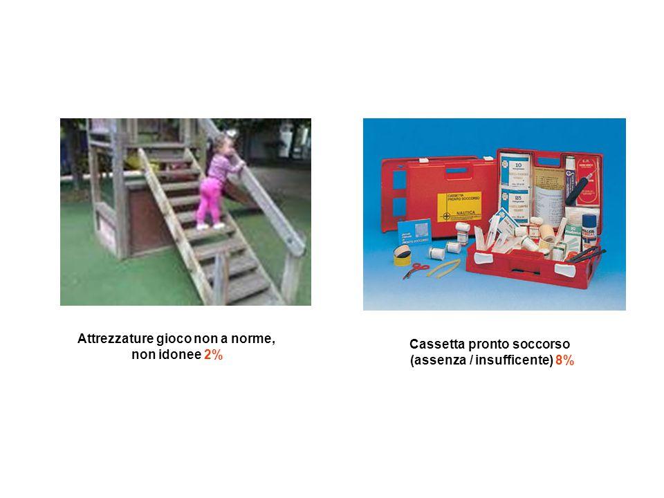 Attrezzature gioco non a norme, non idonee 2% Cassetta pronto soccorso (assenza / insufficente) 8%