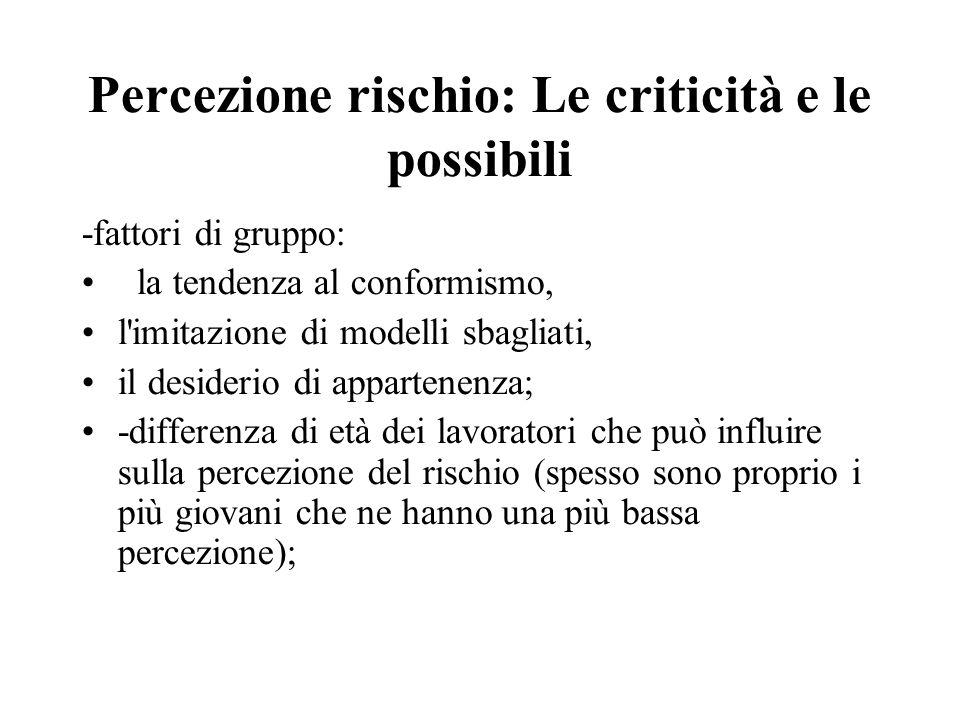 Percezione rischio: Le criticità e le possibili -fattori di gruppo: la tendenza al conformismo, l'imitazione di modelli sbagliati, il desiderio di app