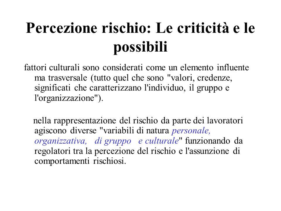Percezione rischio: Le criticità e le possibili fattori culturali sono considerati come un elemento influente ma trasversale (tutto quel che sono