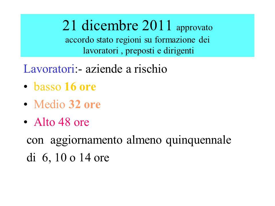 21 dicembre 2011 approvato accordo stato regioni su formazione dei lavoratori, preposti e dirigenti Lavoratori:- aziende a rischio basso 16 ore Medio