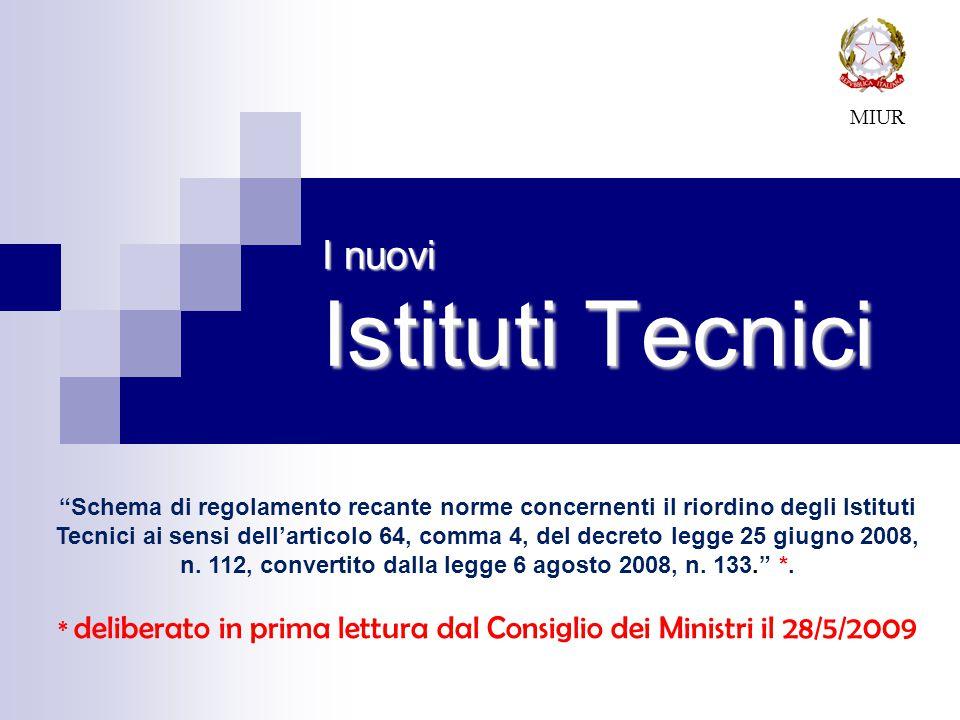 I nuovi Istituti Tecnici MIUR Schema di regolamento recante norme concernenti il riordino degli Istituti Tecnici ai sensi dell'articolo 64, comma 4, del decreto legge 25 giugno 2008, n.