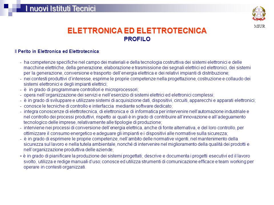 ELETTRONICA ED ELETTROTECNICA PROFILO MIUR I nuovi Istituti Tecnici Il Perito in Elettronica ed Elettrotecnica: - ha competenze specifiche nel campo dei materiali e della tecnologia costruttiva dei sistemi elettronici e delle macchine elettriche, della generazione, elaborazione e trasmissione dei segnali elettrici ed elettronici, dei sistemi per la generazione, conversione e trasporto dell'energia elettrica e dei relativi impianti di distribuzione; - nei contesti produttivi d'interesse, esprime le proprie competenze nella progettazione, costruzione e collaudo dei sistemi elettronici e degli impianti elettrici; - è in grado di programmare controllori e microprocessori; - opera nell'organizzazione dei servizi e nell'esercizio di sistemi elettrici ed elettronici complessi; - è in grado di sviluppare e utilizzare sistemi di acquisizione dati, dispositivi, circuiti, apparecchi e apparati elettronici; - conosce le tecniche di controllo e interfaccia mediante software dedicato; - integra conoscenze di elettrotecnica, di elettronica e di informatica per intervenire nell'automazione industriale e nel controllo dei processi produttivi, rispetto ai quali è in grado di contribuire all'innovazione e all'adeguamento tecnologico delle imprese, relativamente alle tipologie di produzione; - interviene nei processi di conversione dell'energia elettrica, anche di fonte alternativa, e del loro controllo, per ottimizzare il consumo energetico e adeguare gli impianti e i dispositivi alle normative sulla sicurezza; - è in grado di esprimere le proprie competenze, nell'ambito delle normative vigenti, nel mantenimento della sicurezza sul lavoro e nella tutela ambientale, nonché di intervenire nel miglioramento della qualità dei prodotti e nell'organizzazione produttiva delle aziende; - è in grado di pianificare la produzione dei sistemi progettati; descrive e documenta i progetti esecutivi ed il lavoro svolto, utilizza e redige manuali d'uso; conosce ed utilizza strumenti di comunicazione e