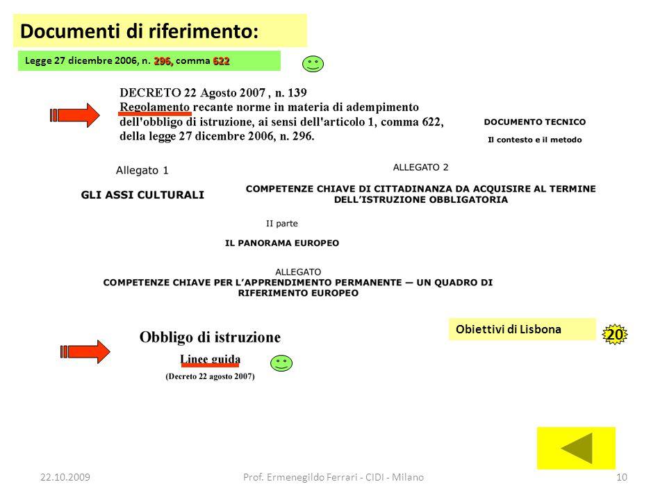 22.10.2009Prof. Ermenegildo Ferrari - CIDI - Milano10 Documenti di riferimento: 296,622 Legge 27 dicembre 2006, n. 296, comma 622 Obiettivi di Lisbona