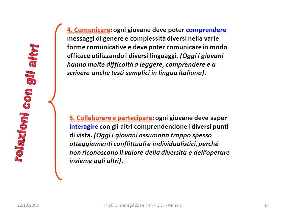 22.10.2009Prof. Ermenegildo Ferrari - CIDI - Milano17 4. Comunicarecomprendere 4. Comunicare: ogni giovane deve poter comprendere messaggi di genere e
