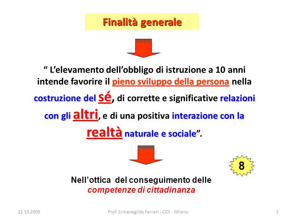 22.10.2009Prof. Ermenegildo Ferrari - CIDI - Milano3 pieno sviluppo della persona costruzione del sé relazioni con gli altri interazione con la realtà