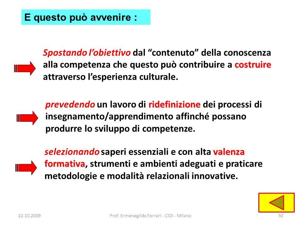 22.10.2009Prof. Ermenegildo Ferrari - CIDI - Milano30 ridefinizione prevedendo un lavoro di ridefinizione dei processi di insegnamento/apprendimento a