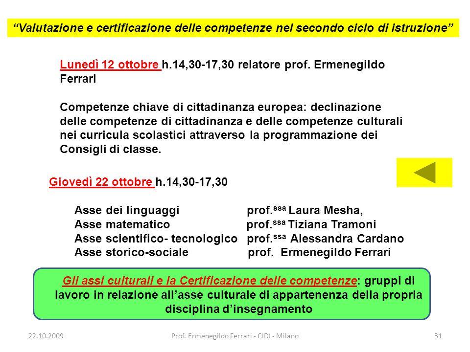 Lunedì 12 ottobre h.14,30-17,30 relatore prof. Ermenegildo Ferrari Competenze chiave di cittadinanza europea: declinazione delle competenze di cittadi