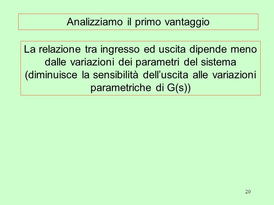 20 La relazione tra ingresso ed uscita dipende meno dalle variazioni dei parametri del sistema (diminuisce la sensibilità dell'uscita alle variazioni parametriche di G(s)) Analizziamo il primo vantaggio