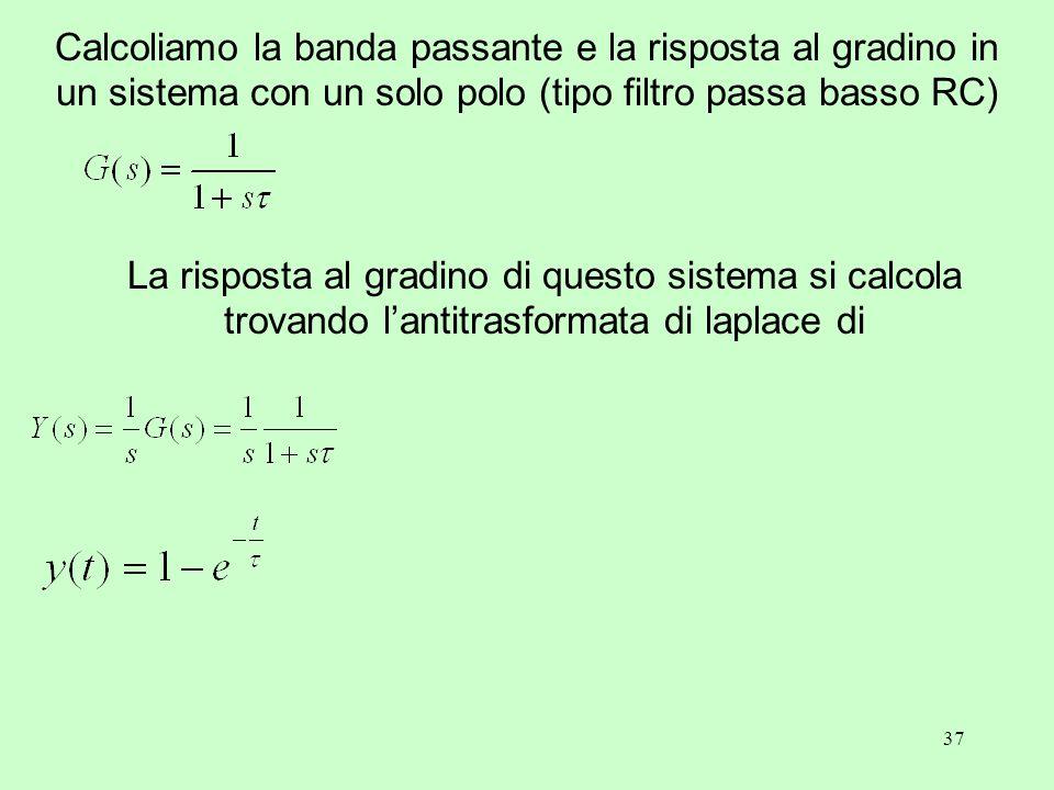 37 Calcoliamo la banda passante e la risposta al gradino in un sistema con un solo polo (tipo filtro passa basso RC) La risposta al gradino di questo sistema si calcola trovando l'antitrasformata di laplace di