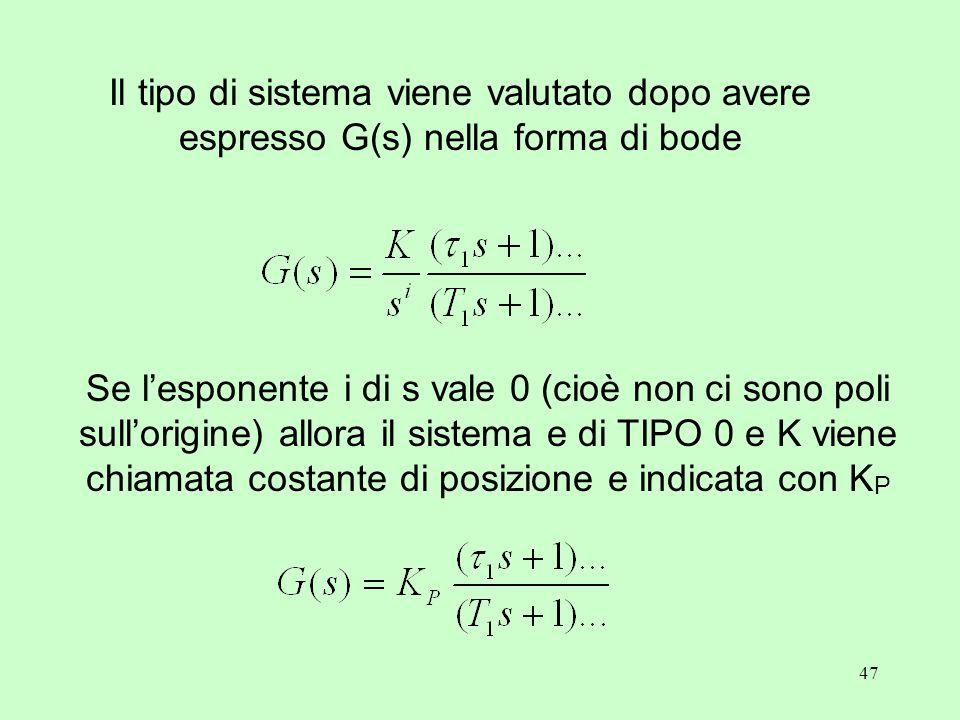 47 Il tipo di sistema viene valutato dopo avere espresso G(s) nella forma di bode Se l'esponente i di s vale 0 (cioè non ci sono poli sull'origine) allora il sistema e di TIPO 0 e K viene chiamata costante di posizione e indicata con K P