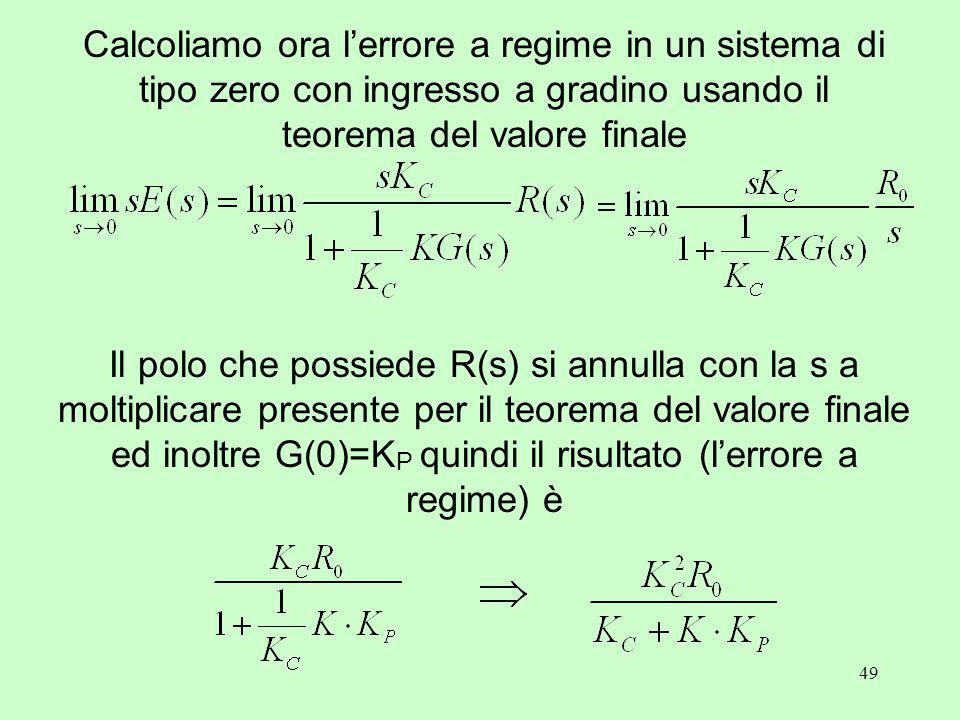 49 Calcoliamo ora l'errore a regime in un sistema di tipo zero con ingresso a gradino usando il teorema del valore finale Il polo che possiede R(s) si