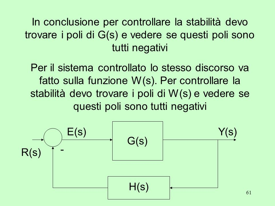 61 In conclusione per controllare la stabilità devo trovare i poli di G(s) e vedere se questi poli sono tutti negativi Per il sistema controllato lo stesso discorso va fatto sulla funzione W(s).