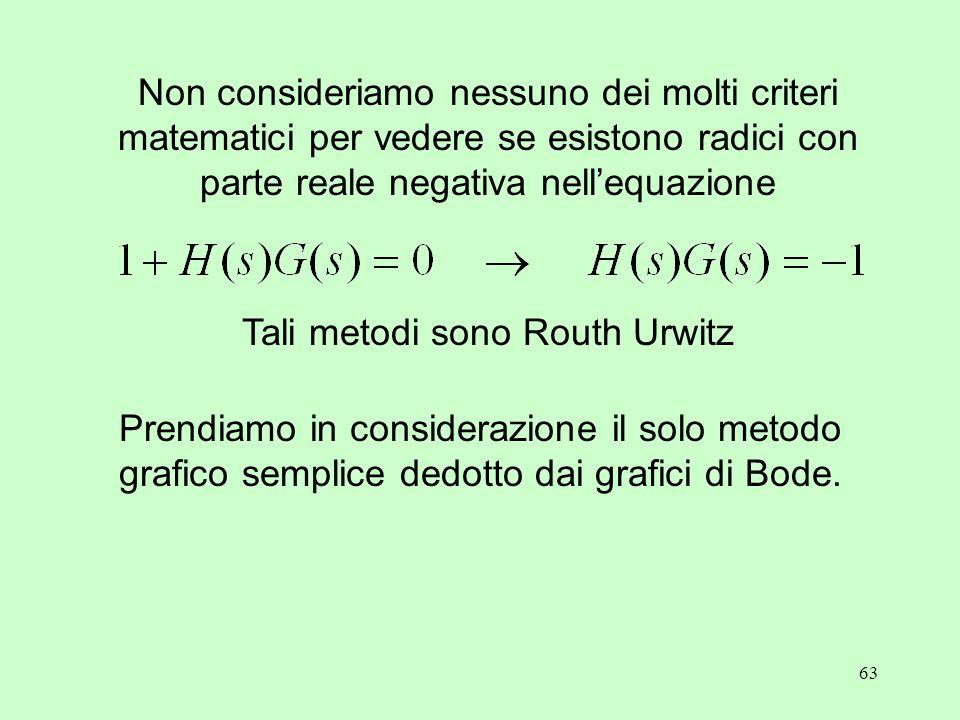 63 Non consideriamo nessuno dei molti criteri matematici per vedere se esistono radici con parte reale negativa nell'equazione Tali metodi sono Routh Urwitz Prendiamo in considerazione il solo metodo grafico semplice dedotto dai grafici di Bode.