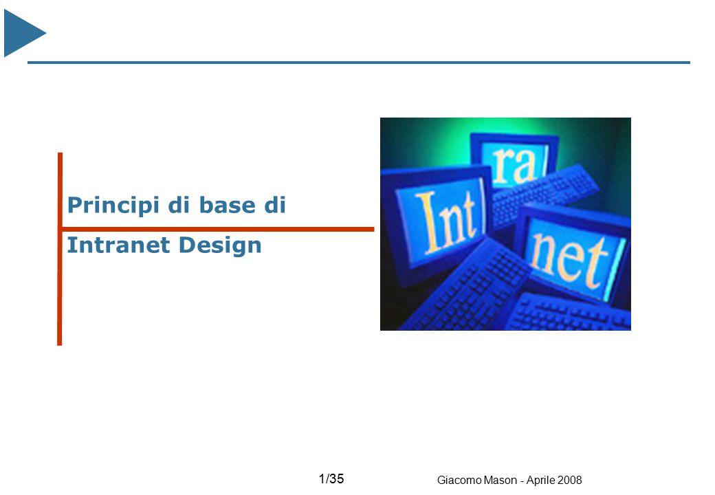 2/35 Giacomo Mason - Aprile 2008 Intranet design - Tipi di Strutture - E' la più usata Sito Blog Portale