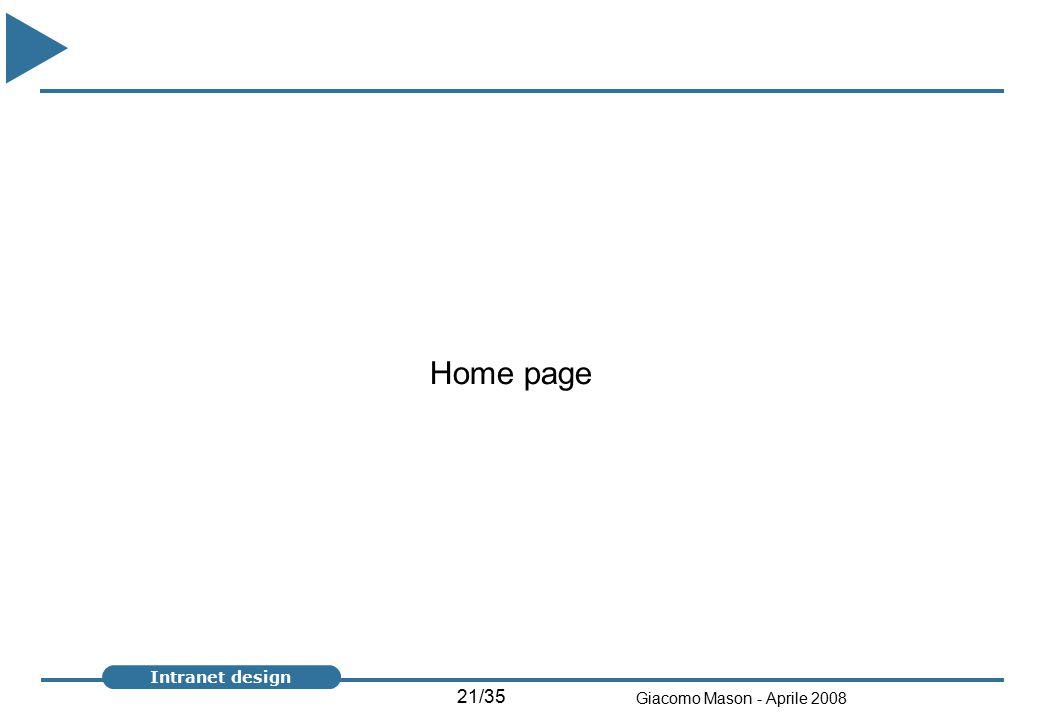 21/35 Giacomo Mason - Aprile 2008 Intranet design Home page