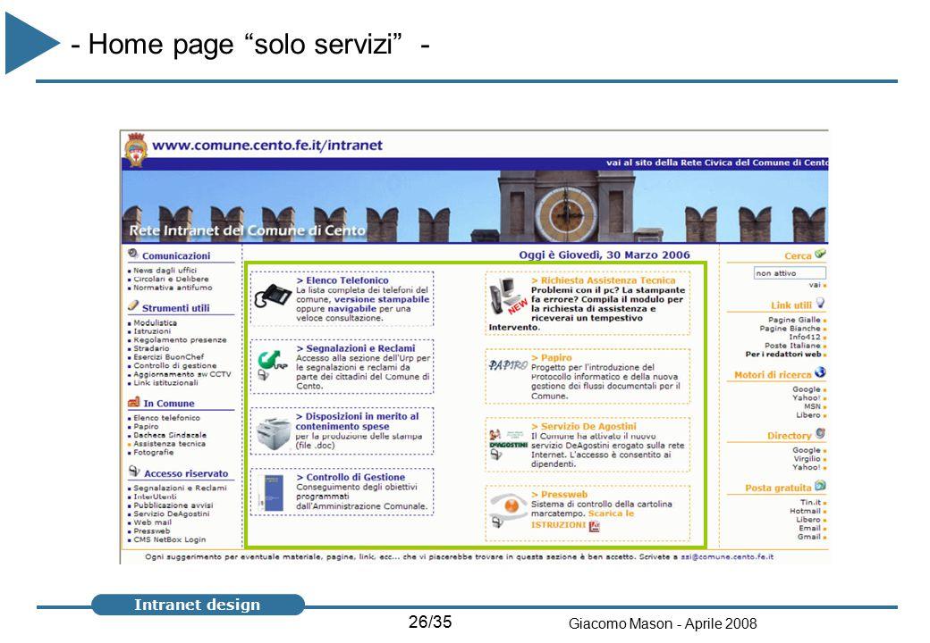 26/35 Giacomo Mason - Aprile 2008 Intranet design - Home page solo servizi -