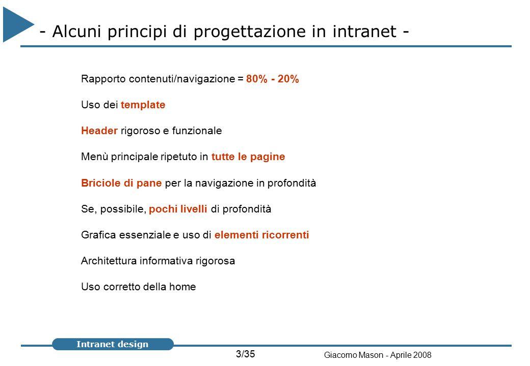 14/35 Giacomo Mason - Aprile 2008 Intranet design - Tre tipi di architettura - Per categorie Modello con contenuti informativi divisi per aree omogenee (es.