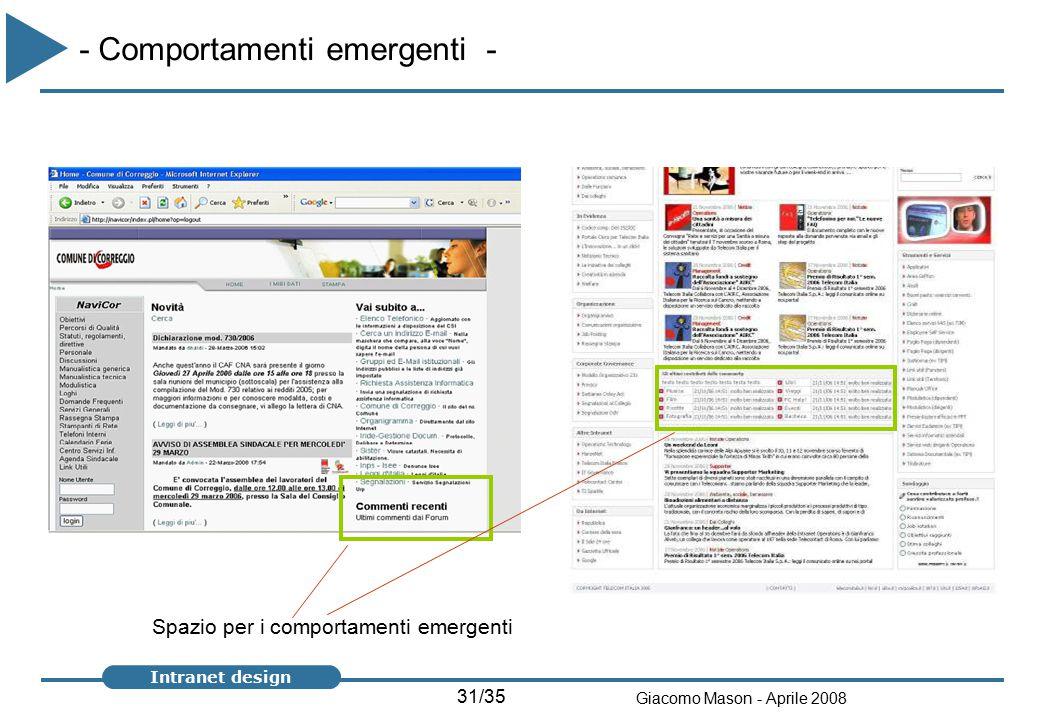 31/35 Giacomo Mason - Aprile 2008 Intranet design Spazio per i comportamenti emergenti - Comportamenti emergenti -