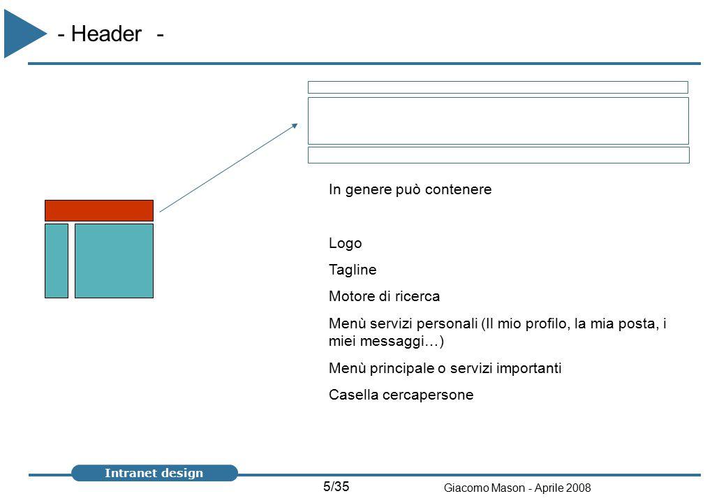 5/35 Giacomo Mason - Aprile 2008 Intranet design - Header - In genere può contenere Logo Tagline Motore di ricerca Menù servizi personali (Il mio profilo, la mia posta, i miei messaggi…) Menù principale o servizi importanti Casella cercapersone