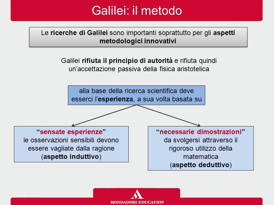 Galilei: il metodo Le ricerche di Galilei sono importanti soprattutto per gli aspetti metodologici innovativi Galilei rifiuta il principio di autorità