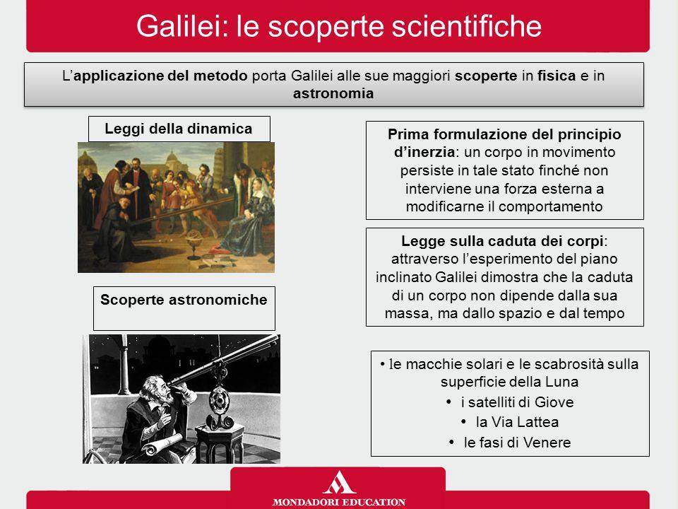 Galilei: le scoperte scientifiche L'applicazione del metodo porta Galilei alle sue maggiori scoperte in fisica e in astronomia Leggi della dinamica Sc