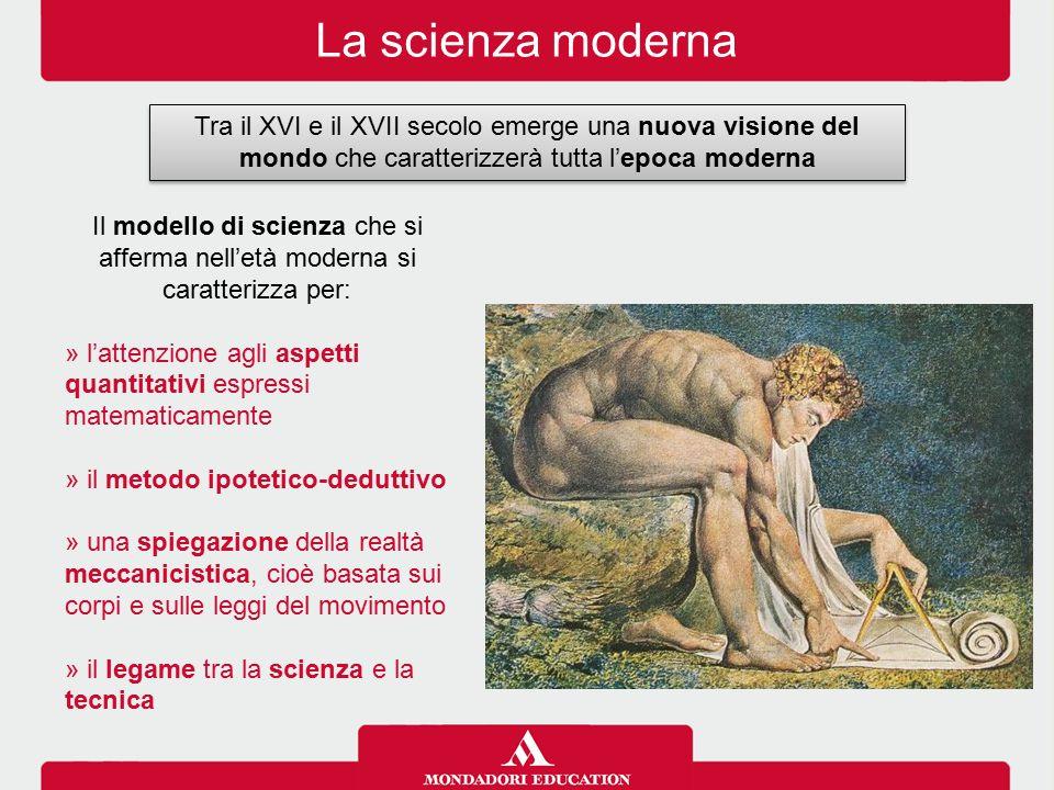La scienza moderna Tra il XVI e il XVII secolo emerge una nuova visione del mondo che caratterizzerà tutta l'epoca moderna Il modello di scienza che s