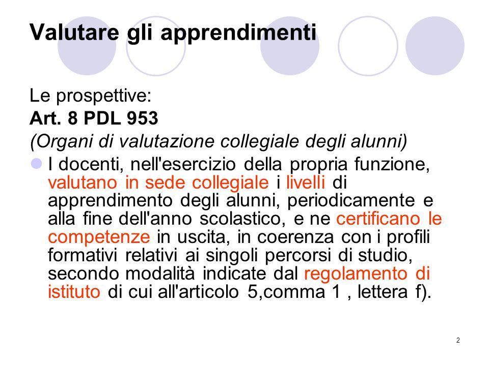 2 Valutare gli apprendimenti Le prospettive: Art. 8 PDL 953 (Organi di valutazione collegiale degli alunni) I docenti, nell'esercizio della propria fu