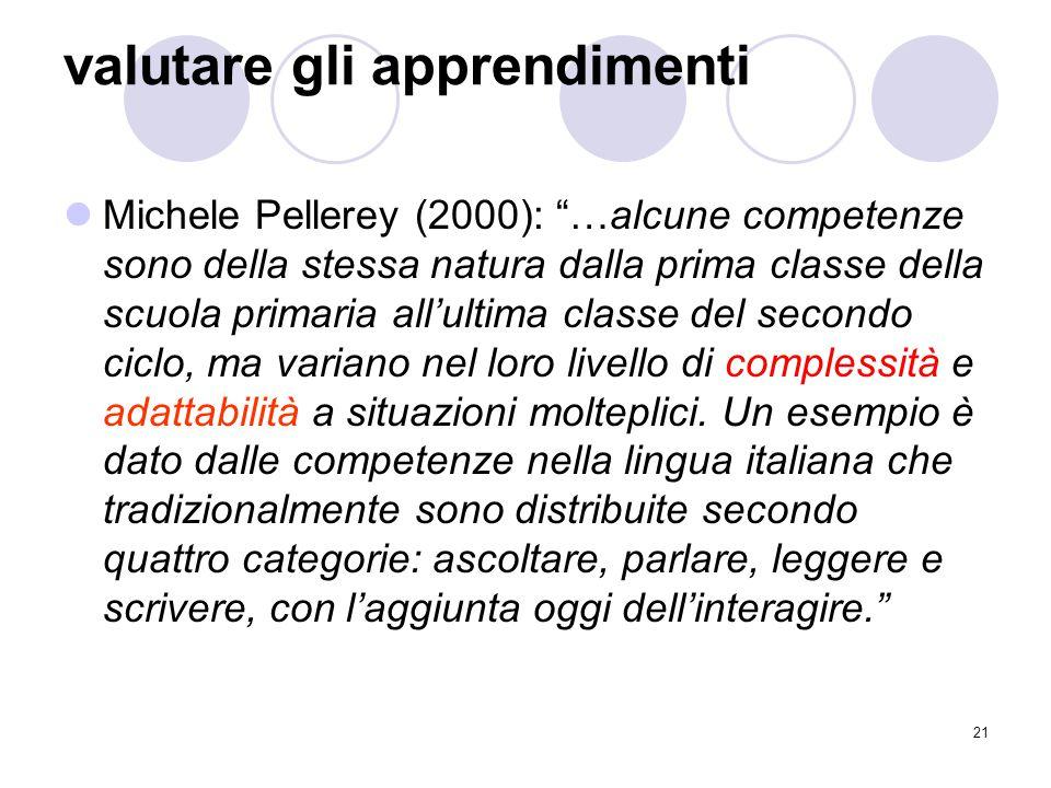"""21 valutare gli apprendimenti Michele Pellerey (2000): """"…alcune competenze sono della stessa natura dalla prima classe della scuola primaria all'ultim"""