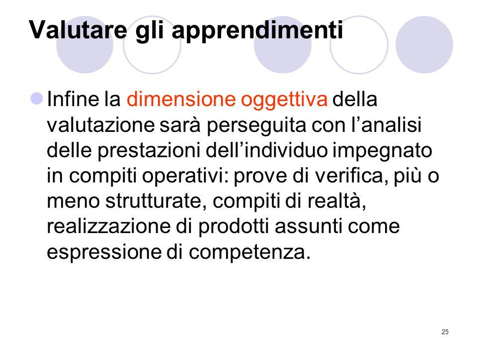 25 Valutare gli apprendimenti Infine la dimensione oggettiva della valutazione sarà perseguita con l'analisi delle prestazioni dell'individuo impegnat
