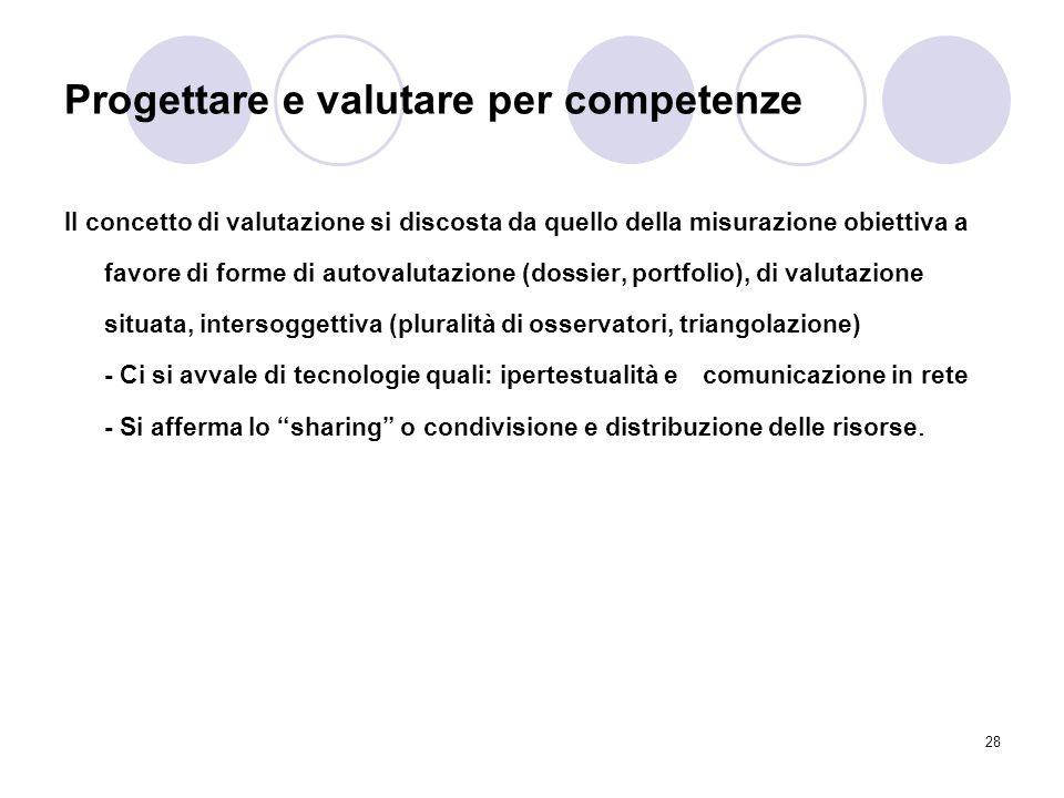 28 Progettare e valutare per competenze Il concetto di valutazione si discosta da quello della misurazione obiettiva a favore di forme di autovalutazi