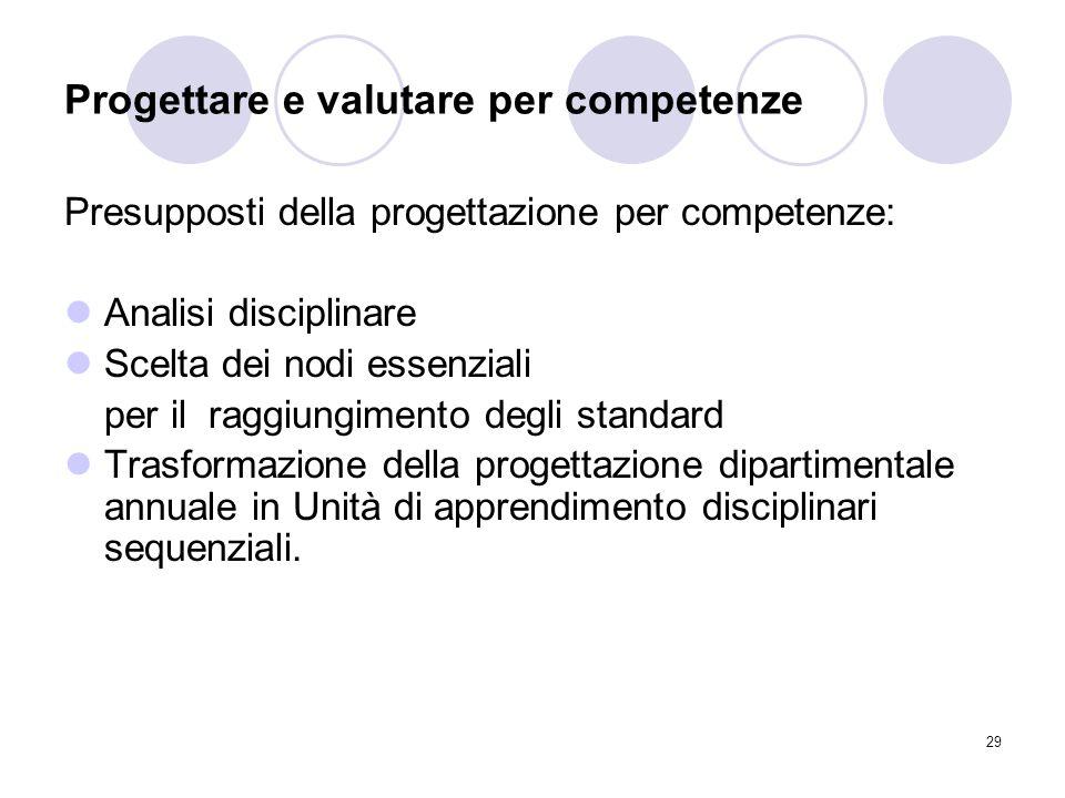 29 Progettare e valutare per competenze Presupposti della progettazione per competenze: Analisi disciplinare Scelta dei nodi essenziali per il raggiun