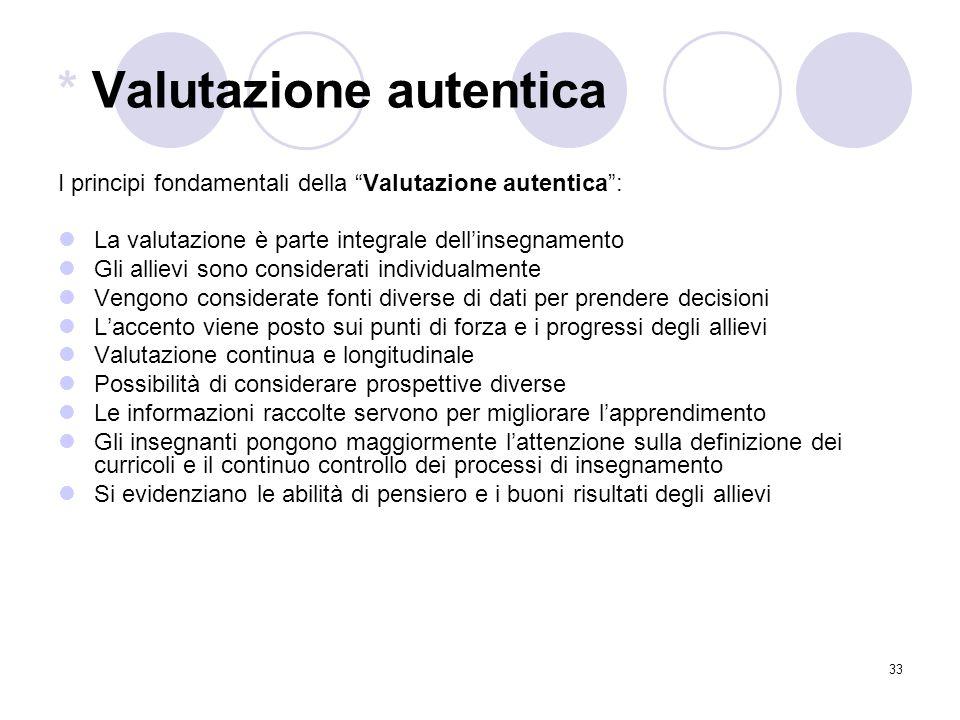"""33 * Valutazione autentica I principi fondamentali della """"Valutazione autentica"""": La valutazione è parte integrale dell'insegnamento Gli allievi sono"""