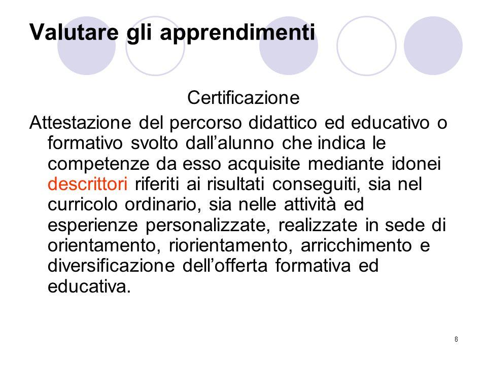 8 Valutare gli apprendimenti Certificazione Attestazione del percorso didattico ed educativo o formativo svolto dall'alunno che indica le competenze d