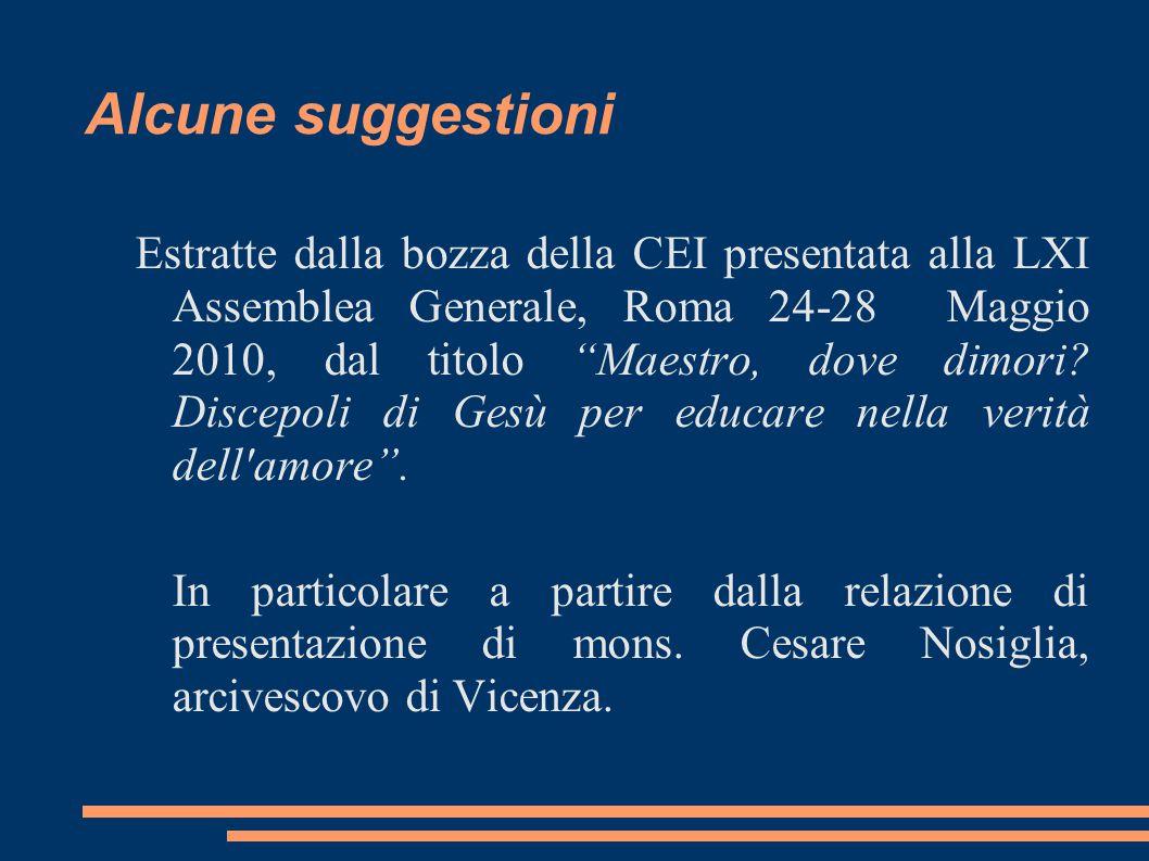 Estratte dalla bozza della CEI presentata alla LXI Assemblea Generale, Roma 24-28 Maggio 2010, dal titolo Maestro, dove dimori.