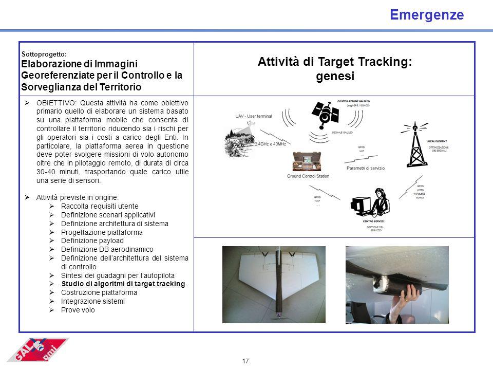 17 Emergenze  OBIETTIVO: Questa attività ha come obiettivo primario quello di elaborare un sistema basato su una piattaforma mobile che consenta di controllare il territorio riducendo sia i rischi per gli operatori sia i costi a carico degli Enti.