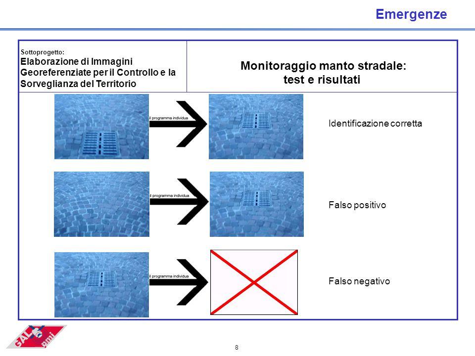 8 Emergenze Sottoprogetto: Elaborazione di Immagini Georeferenziate per il Controllo e la Sorveglianza del Territorio Monitoraggio manto stradale: test e risultati Identificazione corretta Falso positivo Falso negativo