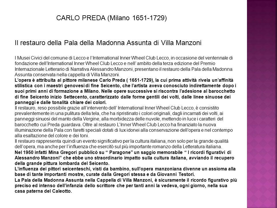 Il restauro della Pala della Madonna Assunta di Villa Manzoni I Musei Civici del comune di Lecco e l'International Inner Wheel Club Lecco, in occasion