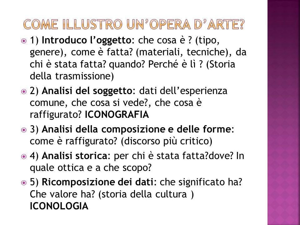  ICONOGRAFIA:disciplina che studia le immagini con particolare attenzione ai diversi modi in cui i soggetti vengono rappresentati nella storia delle arti figurative.