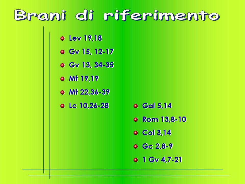 Lev 19,18 Gv 15, 12-17 Gv 13, 34-35 Mt 19,19 Mt 22,36-39 Lc 10,26-28 Lev 19,18 Gv 15, 12-17 Gv 13, 34-35 Mt 19,19 Mt 22,36-39 Lc 10,26-28 Gal 5,14 Rom 13,8-10 Col 3,14 Gc 2,8-9 1 Gv 4,7-21 Gal 5,14 Rom 13,8-10 Col 3,14 Gc 2,8-9 1 Gv 4,7-21