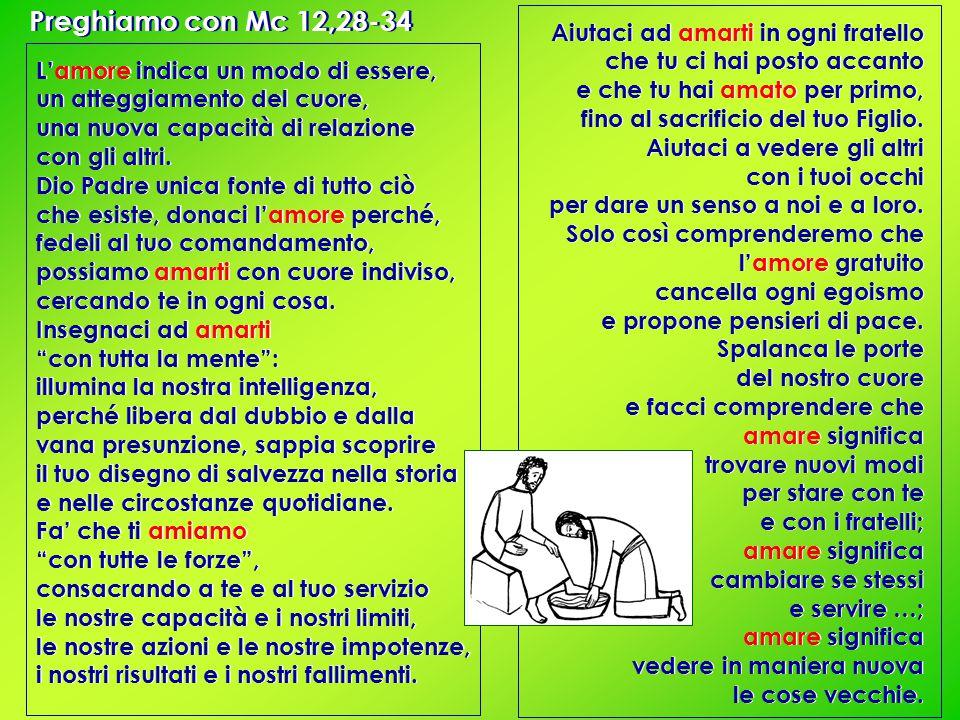 Preghiamo con Mc 12,28-34 L'amore indica un modo di essere, un atteggiamento del cuore, una nuova capacità di relazione con gli altri.