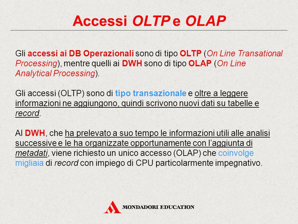 Accessi OLTP e OLAP Gli accessi ai DB Operazionali sono di tipo OLTP (On Line Transational Processing), mentre quelli ai DWH sono di tipo OLAP (On Line Analytical Processing).