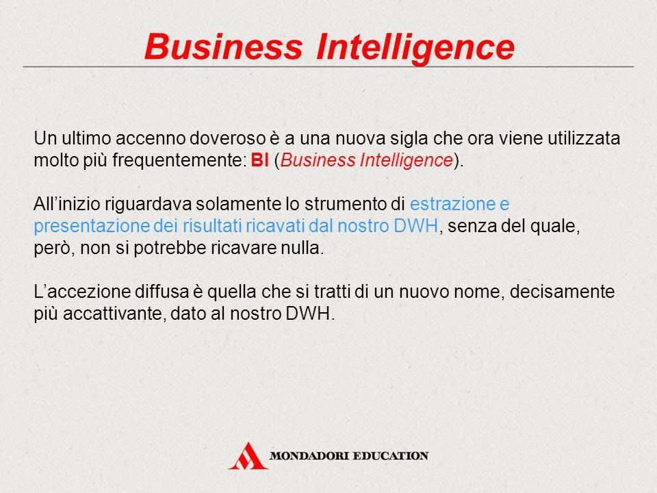 Business Intelligence Un ultimo accenno doveroso è a una nuova sigla che ora viene utilizzata molto più frequentemente: BI (Business Intelligence).