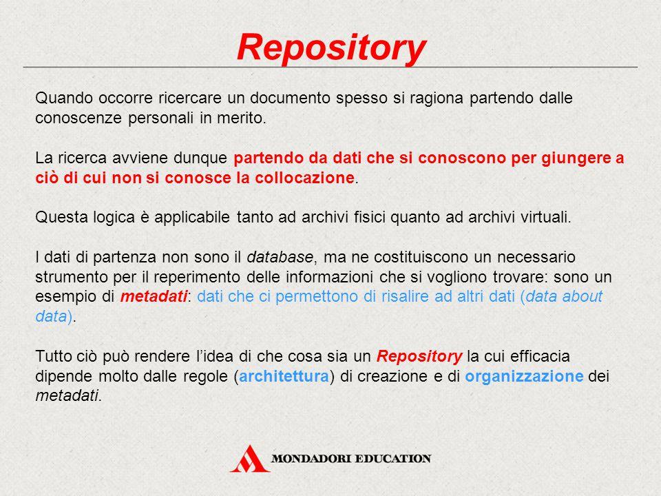 Repository Quando occorre ricercare un documento spesso si ragiona partendo dalle conoscenze personali in merito.