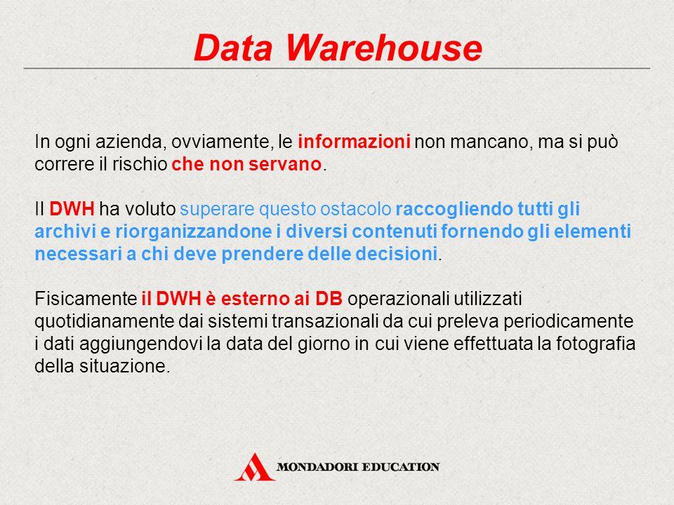 Data Warehouse In ogni azienda, ovviamente, le informazioni non mancano, ma si può correre il rischio che non servano.