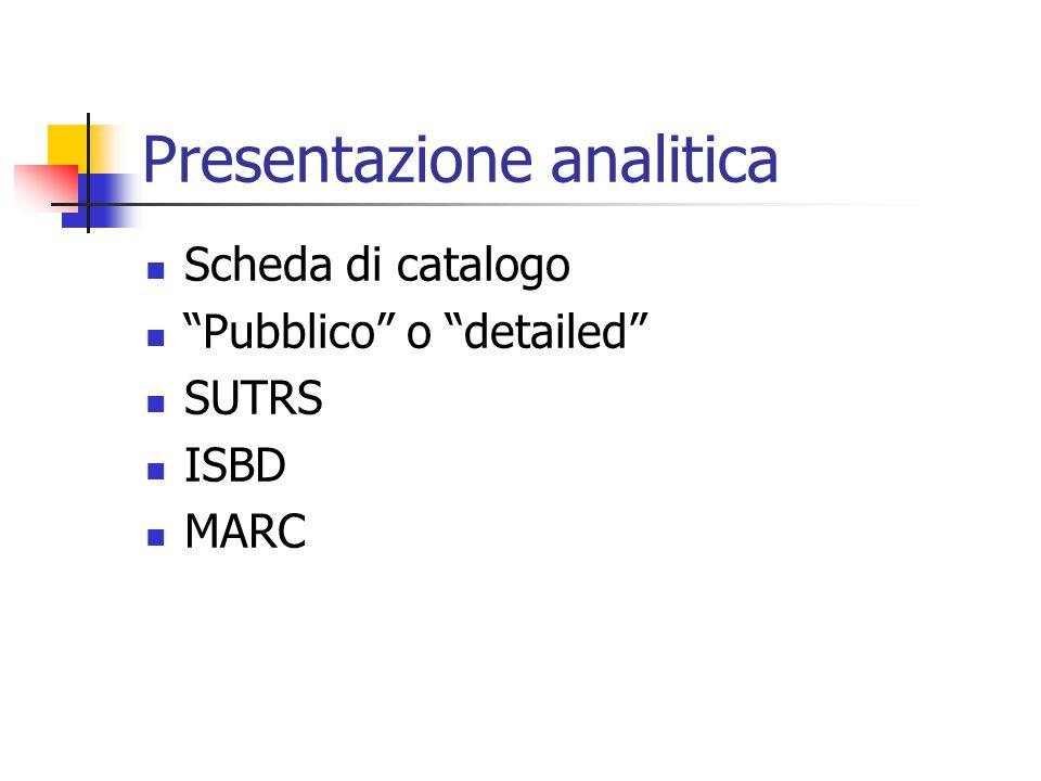La presentazione Breve Analitica