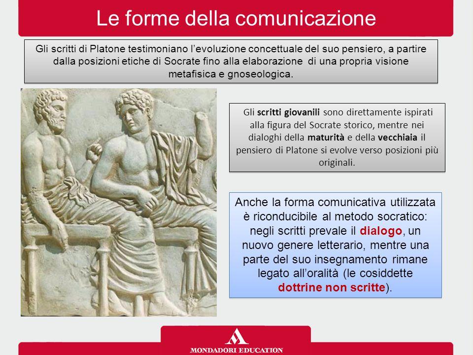 Le forme della comunicazione Gli scritti di Platone testimoniano l'evoluzione concettuale del suo pensiero, a partire dalla posizioni etiche di Socrat